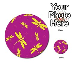 Purple And Yellow Dragonflies Pattern Multi Purpose Cards (round)  by Valentinaart