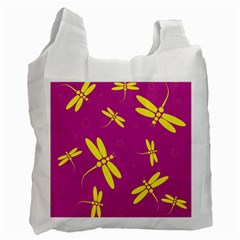 Purple And Yellow Dragonflies Pattern Recycle Bag (two Side)  by Valentinaart