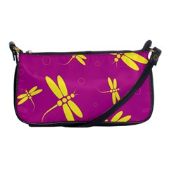 Purple And Yellow Dragonflies Pattern Shoulder Clutch Bags by Valentinaart