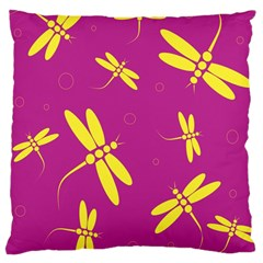 Purple And Yellow Dragonflies Pattern Large Cushion Case (one Side) by Valentinaart