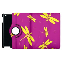Purple And Yellow Dragonflies Pattern Apple Ipad 2 Flip 360 Case by Valentinaart
