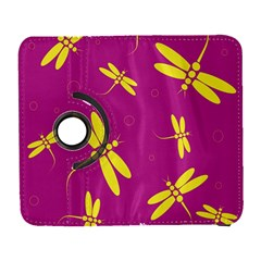 Purple And Yellow Dragonflies Pattern Samsung Galaxy S  Iii Flip 360 Case by Valentinaart