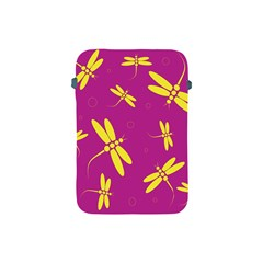Purple And Yellow Dragonflies Pattern Apple Ipad Mini Protective Soft Cases by Valentinaart