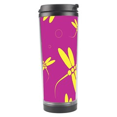 Purple And Yellow Dragonflies Pattern Travel Tumbler by Valentinaart