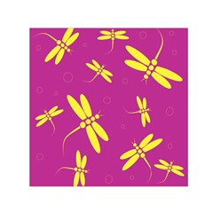 Purple And Yellow Dragonflies Pattern Small Satin Scarf (square) by Valentinaart