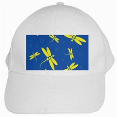 Blue And Yellow Dragonflies Pattern White Cap by Valentinaart