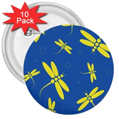 Blue And Yellow Dragonflies Pattern 3  Buttons (10 Pack)  by Valentinaart