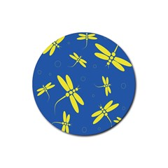 Blue And Yellow Dragonflies Pattern Rubber Coaster (round)  by Valentinaart