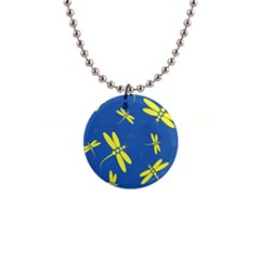 Blue And Yellow Dragonflies Pattern Button Necklaces by Valentinaart