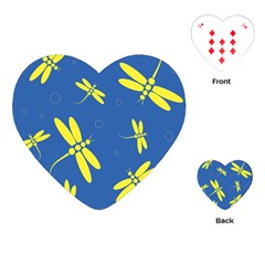 Blue And Yellow Dragonflies Pattern Playing Cards (heart)  by Valentinaart