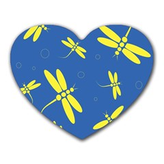 Blue And Yellow Dragonflies Pattern Heart Mousepads by Valentinaart