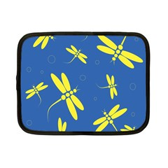 Blue And Yellow Dragonflies Pattern Netbook Case (small)  by Valentinaart