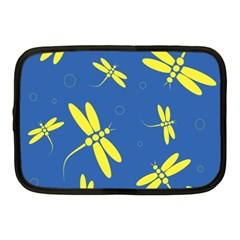 Blue And Yellow Dragonflies Pattern Netbook Case (medium)  by Valentinaart