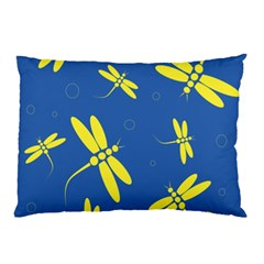 Blue And Yellow Dragonflies Pattern Pillow Case by Valentinaart