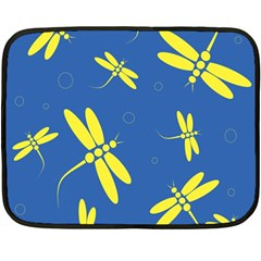 Blue And Yellow Dragonflies Pattern Double Sided Fleece Blanket (mini)  by Valentinaart
