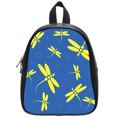 Blue And Yellow Dragonflies Pattern School Bags (small)  by Valentinaart