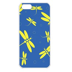 Blue And Yellow Dragonflies Pattern Apple Iphone 5 Seamless Case (white) by Valentinaart