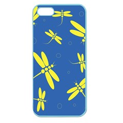 Blue And Yellow Dragonflies Pattern Apple Seamless Iphone 5 Case (color) by Valentinaart