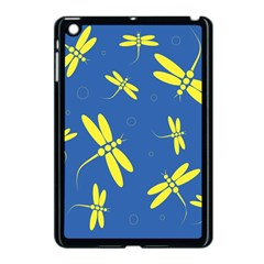 Blue And Yellow Dragonflies Pattern Apple Ipad Mini Case (black) by Valentinaart