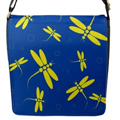 Blue And Yellow Dragonflies Pattern Flap Messenger Bag (s) by Valentinaart