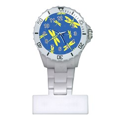 Blue And Yellow Dragonflies Pattern Plastic Nurses Watch by Valentinaart