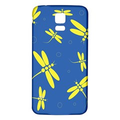 Blue And Yellow Dragonflies Pattern Samsung Galaxy S5 Back Case (white) by Valentinaart
