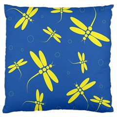 Blue And Yellow Dragonflies Pattern Large Flano Cushion Case (two Sides) by Valentinaart