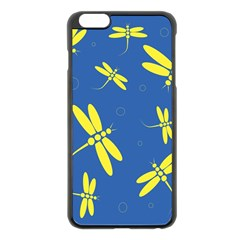 Blue And Yellow Dragonflies Pattern Apple Iphone 6 Plus/6s Plus Black Enamel Case by Valentinaart