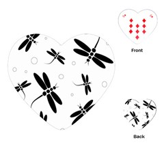 Black And White Dragonflies Playing Cards (heart)  by Valentinaart