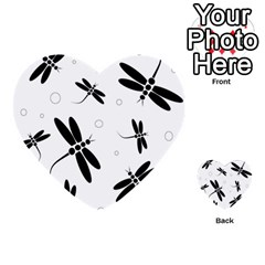 Black And White Dragonflies Multi Purpose Cards (heart)  by Valentinaart