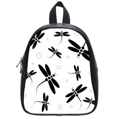 Black And White Dragonflies School Bags (small)  by Valentinaart