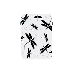 Black And White Dragonflies Apple Ipad Mini Protective Soft Cases by Valentinaart