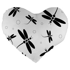 Black And White Dragonflies Large 19  Premium Flano Heart Shape Cushions by Valentinaart