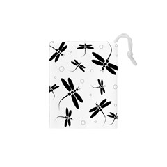 Black And White Dragonflies Drawstring Pouches (xs)  by Valentinaart