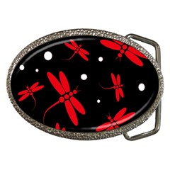 Red, Black And White Dragonflies Belt Buckles by Valentinaart