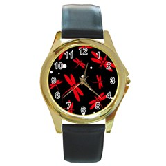 Red, Black And White Dragonflies Round Gold Metal Watch by Valentinaart