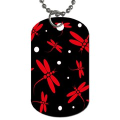 Red, Black And White Dragonflies Dog Tag (one Side) by Valentinaart