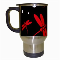 Red, Black And White Dragonflies Travel Mugs (white) by Valentinaart