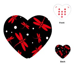 Red, Black And White Dragonflies Playing Cards (heart)  by Valentinaart