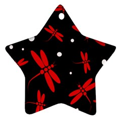 Red, Black And White Dragonflies Star Ornament (two Sides)