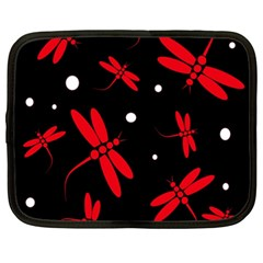 Red, Black And White Dragonflies Netbook Case (xxl)  by Valentinaart