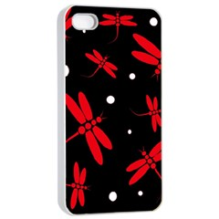 Red, Black And White Dragonflies Apple Iphone 4/4s Seamless Case (white) by Valentinaart