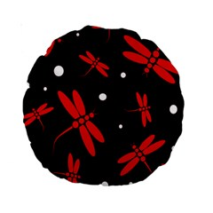 Red, Black And White Dragonflies Standard 15  Premium Round Cushions by Valentinaart