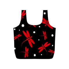 Red, Black And White Dragonflies Full Print Recycle Bags (s)  by Valentinaart
