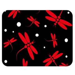 Red, Black And White Dragonflies Double Sided Flano Blanket (medium)  by Valentinaart