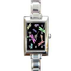 Pastel Dragonflies Rectangle Italian Charm Watch by Valentinaart