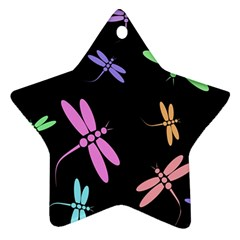 Pastel Dragonflies Star Ornament (two Sides)  by Valentinaart