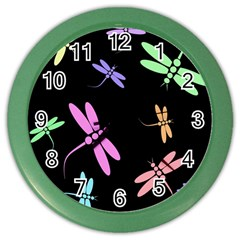 Pastel Dragonflies Color Wall Clocks by Valentinaart
