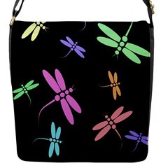 Pastel Dragonflies Flap Messenger Bag (s) by Valentinaart