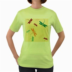 Pastel Dragonflies  Women s Green T Shirt by Valentinaart